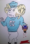 Mascots Painting Prints - Go Tarheels Print by Sherry Cordle