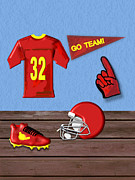 Uniform Mixed Media Posters - Go Team Tribute to Football Poster by Pharris Art