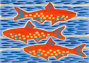 Trout Drawings - Go with the Flow by Susan Greenwood Lindsay