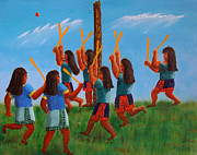 Stickball Prints - Goal Tending First in Stickball Series Print by Tim Longwell