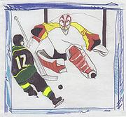 Winter Recreation Drawings Posters - Goalie 1 by jrr Poster by First Star Art