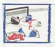 Puck Drawings - Goalie 2 by jrr by First Star Art