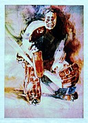 Hockey Print Paintings - Goalie by Dale Michels
