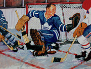 Hockey Paintings - Goaltender by Derrick Higgins