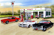 Cards Vintage Drawings Framed Prints - Goats GTO Framed Print by Larry Johnson