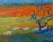 Thomas Bertram POOLE - Goats with Orange Hill...