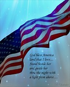 Waving Flag Digital Art - God Bless America by Barbara Chichester