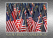 Flag Of Usa Prints - God Bless America Print by Carolyn Marshall