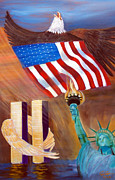 Twin Towers Trade Center Painting Metal Prints - God Bless America Metal Print by To-Tam Gerwe