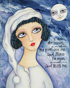 Little Girls Mixed Media Prints - God Bless Me Print by Joann Loftus