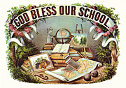 Schools Framed Prints - God Bless Our School Framed Print by Currier and Ives