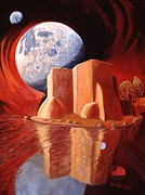 Planet System Paintings - God Is In The Moon by Art James West