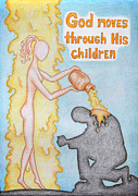Christ Child Drawings Posters - God moves through His children Poster by Kochetova Yelena