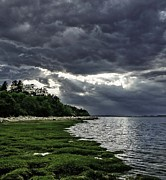 Storm Clouds Cape Cod Framed Prints - God Rays Framed Print by Keith Woodbury