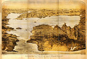 Old Map Paintings - Goddards map of San Francisco 1876 by MotionAge Art and Design - Ahmet Asar