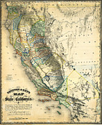Old Map Paintings - Goddards Map Of The State Of California 1857 by MotionAge Art and Design - Ahmet Asar