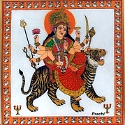 Tiger Glass Art - Goddess Durga by Prachi Arora