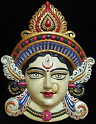 Hindu Goddess Mixed Media Metal Prints - Goddess Durga Metal Print by Sayali Mahajan