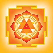 Good Luck Digital Art Metal Prints - Goddess Durga Yantra Metal Print by Soulscapes - Healing Art