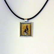 Attachment Paintings - Goddess Isis Nursing Horus Papyrus Necklace by Pet Serrano