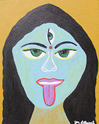 Tongue Art Painting Originals - Goddess Kali by Jen Lothrigel