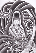 Buddhist Drawings - Goddess Kuan Yin by Amanda Machin