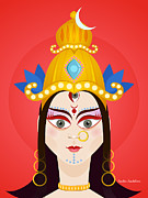 Goddess Durga Digital Art Prints - Goddess Maa Durga Print by Sachin Sachdeva