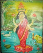 Hindu Goddess Originals - Goddess Mahalaxmi by M Bhatt