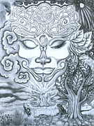 Tree Of Life Drawings - Goddess of Feminine Divine by Jenna Chandler
