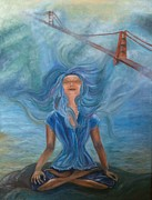 Golden Gate Paintings - Goddess of Golden Gate Brigde by Mila Kronik