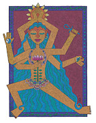 Hindu Goddess Drawings Framed Prints - Goddess of Well-Being Framed Print by Sharon Woodward