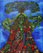 Tree Roots Painting Posters - Goddess of Wisdom Tree Poster by Ilene Satala