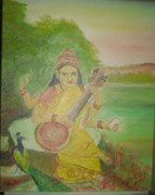 Education Paintings - Goddess Sarswati by M Bhatt
