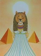 Pyramids Drawings Prints - Goddess Sekhmet Print by Amanda Machin