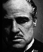 Movie Star Drawings Metal Prints - Godfather Marlon Brando Metal Print by Tony Rubino