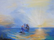 Prophetic Art Painting Posters - Gods Light Poster by Patricia Kimsey Bollinger