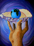 Valuable Painting Prints - GODS Little Blue Pearl Of Great Price Print by Pamorama Jones