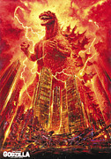 Movie Digital Art Metal Prints - Godzilla Poster Metal Print by Sanely Great