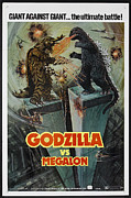 Vintage Memorabilia Prints - Godzilla vs Megalon Poster Print by Sanely Great
