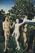 Adam And Eve Framed Prints - Goes, Hugo Van Der, Also Called Hugues Framed Print by Everett