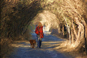 Dog Walking Digital Art Prints - Going For A Walk Print by John  Kolenberg