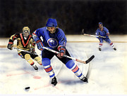 Ice Skates Paintings - Going For It by Todd Spaur