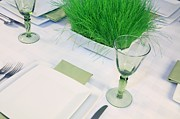 Going Green Photo Posters - Going Green Table Setting Poster by Pattie Calfy