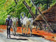 Tamilnadu Paintings - Going home after bathing by Aparna Raghunathan