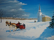 Snow Drifts Painting Posters - Going Home From Church Poster by Norm Starks