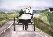 Horse And Buggy Painting Posters - Going Home from Market Poster by Susan Crossman Buscho