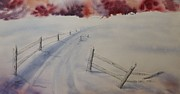 Winter Roads Painting Framed Prints - Going Home Framed Print by Richard Faulkner