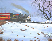 Railroad Snow Paintings - Going Home  SOLD by Ruth  Housley