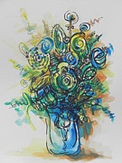 Flower Still Life Prints Prints - Going in Circles  Print by Chrisann Ellis