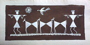 Warli Paintings - Going in farms -second in series of three by Aboli Salunkhe